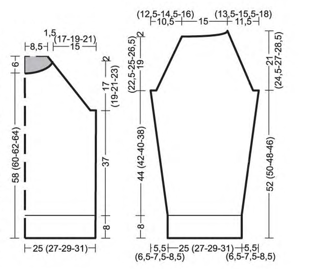Схема мужского свитера с капюшоном спицами