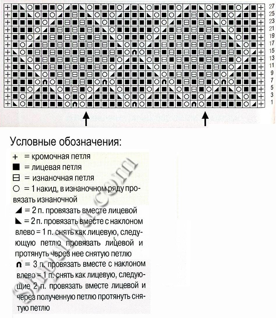 Вязание спицами ажурные ромбы с шишечками схемы и описание 32
