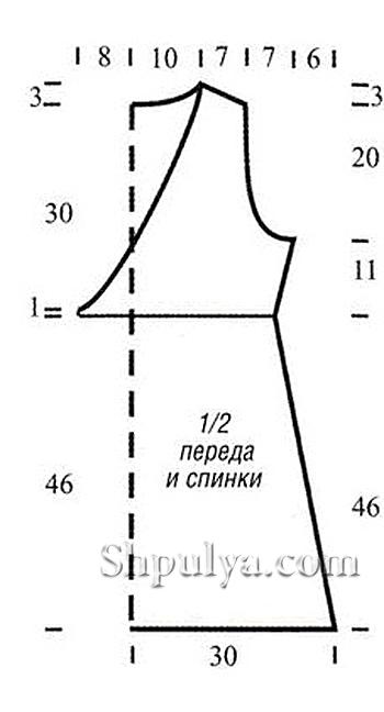 Выкройка женской туники, вязаной спицами
